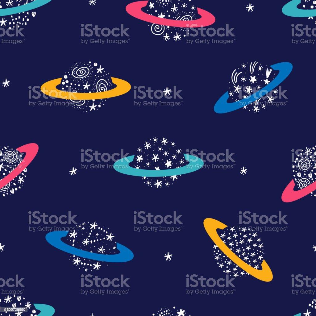 落書き土星惑星と星とのベクトル空間シームレスパターンスターリーパターンと抽象的な幻想的な惑星と漫画カラフルな空間の背景子供のための魔法の壁紙鮮やかな色 いたずら書きのベクターアート素材や画像を多数ご用意 Istock