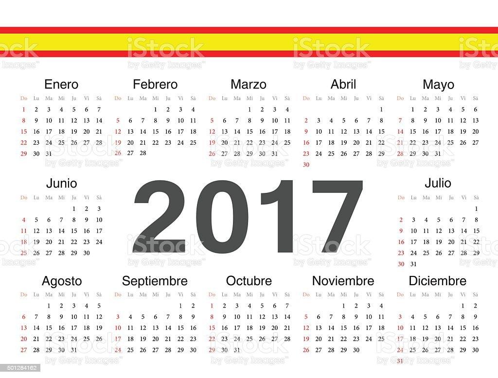 Calendario Spagnolo.Vettoriale Cerchio Spagnolo Calendario 2017 Immagini
