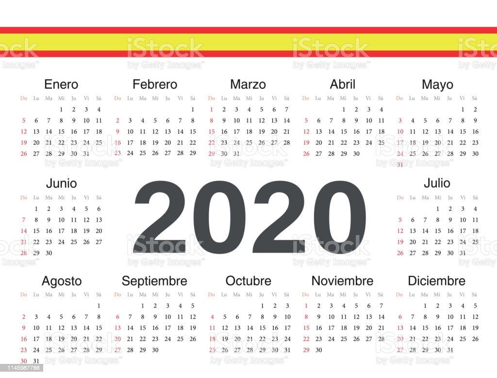 Calendario 2020 Editable Illustrator.Vector Spanish Circle Calendar 2020 Stock Illustration