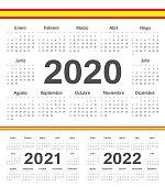 Vector spanish circle calendars 2020, 2021, 2022.