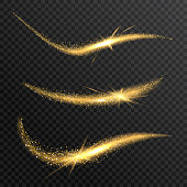 Vector sparkling confetti wave. Stardust glitter bright trail. Golden glittering magic waves with gold particles on checkered background.