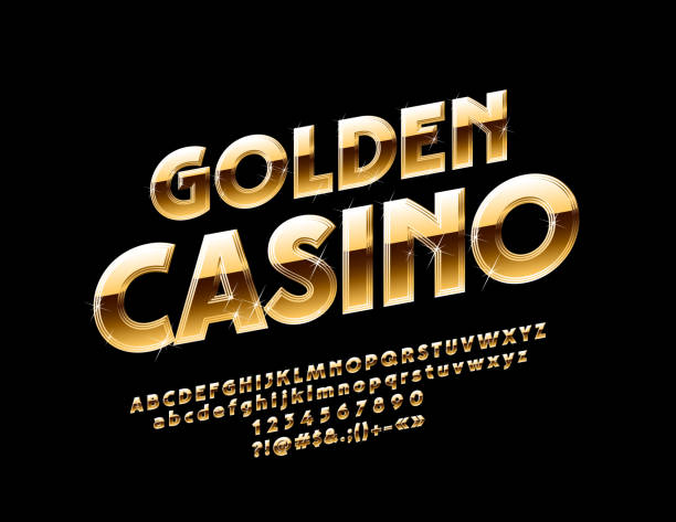 Vector sparkling logo Golden Casino with Alphabet Luxury shiny Font. Chic Letters, Numbers and Symbols nightlife stock illustrations