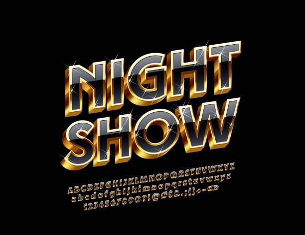 illustrazioni stock, clip art, cartoni animati e icone di tendenza di vector sparkling sign night show with 3d alphabet - sfilata