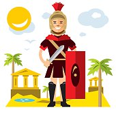 Vector Spartan warrior. Flat style colorful Cartoon illustration.