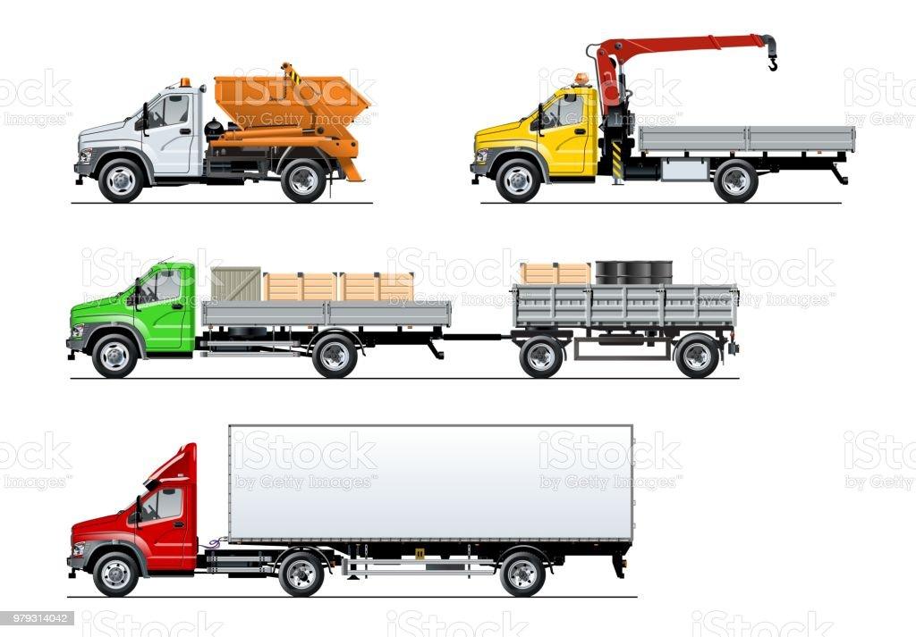 Vector spec trucks set isolated on white vector art illustration
