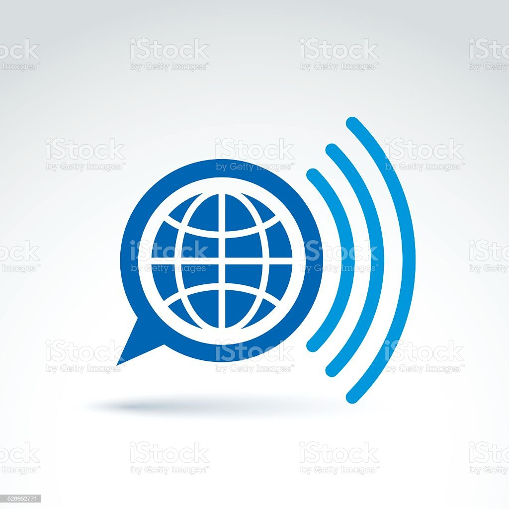 Vector speech bubble with earth illustration, global mass media vector art illustration