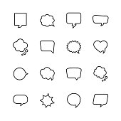 16 Speech Bubbles and Communication Outline Icons.