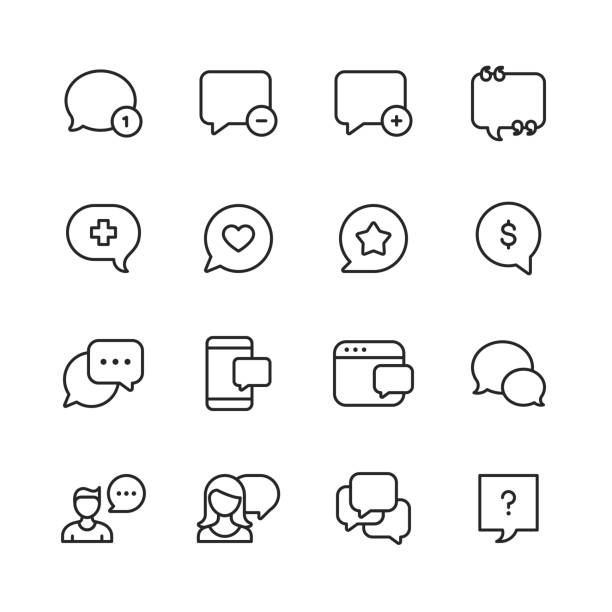 vector speech bubbles and communication line icons. editable stroke. pixel perfect. for mobile and web. - social media stock illustrations