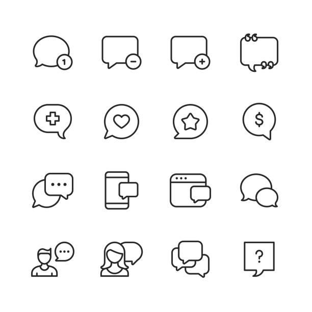 ilustrações, clipart, desenhos animados e ícones de bolhas do discurso do vetor e ícones da linha de comunicação. traçado editável. pixel perfeito. para mobile e web. - social media