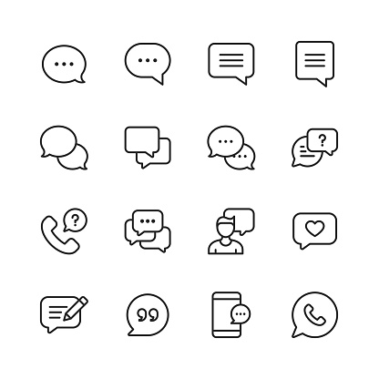 Vector Speech Bubbles and Communication Line Icons. Editable Stroke. Pixel Perfect. For Mobile and Web.