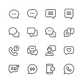 istock Vector Speech Bubbles and Communication Line Icons. Editable Stroke. Pixel Perfect. For Mobile and Web. 1164113216