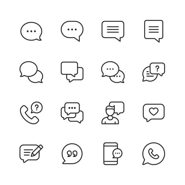 Vector Speech Bubbles and Communication Line Icons. Editable Stroke. Pixel Perfect. For Mobile and Web. 16 Speech Bubbles and Communication Outline Icons. talking stock illustrations