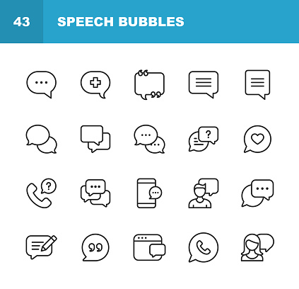 Vector Speech Bubbles and Communication Line Icons. Editable Stroke. Pixel Perfect. For Mobile and Web. clipart