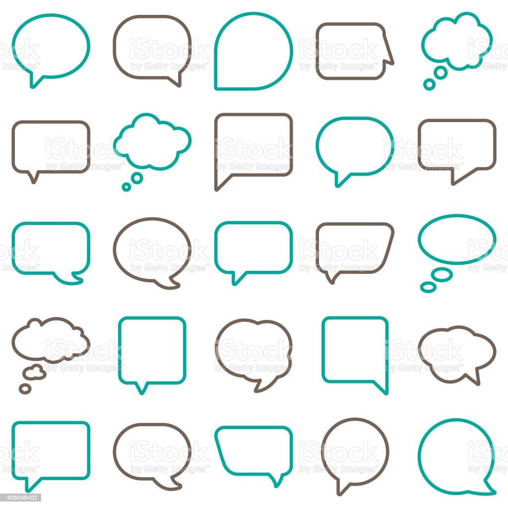 Vector Speech Bubbles Line Color
