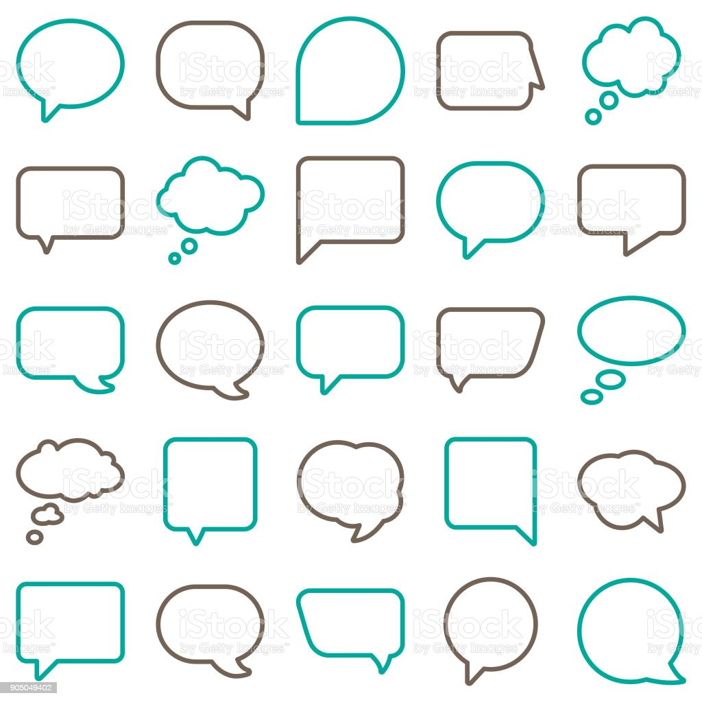 Vector Speech Bubbles Line Color vector art illustration