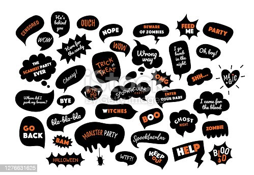 Happy Halloween. Speech bubbles set with text. Trick or treat, party, boo, wow, help, zombies, blood, bite etc. Vector illustration. Halloween design elements, logos, badges, labels, icons, objects.