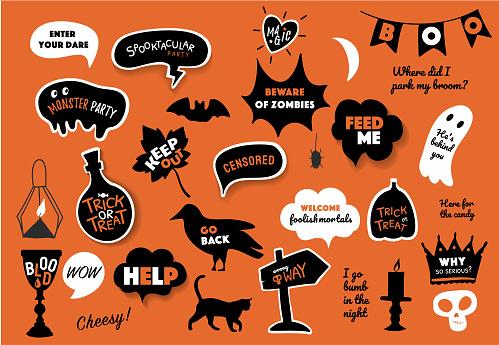 Vector speech bubbles set with halloween text