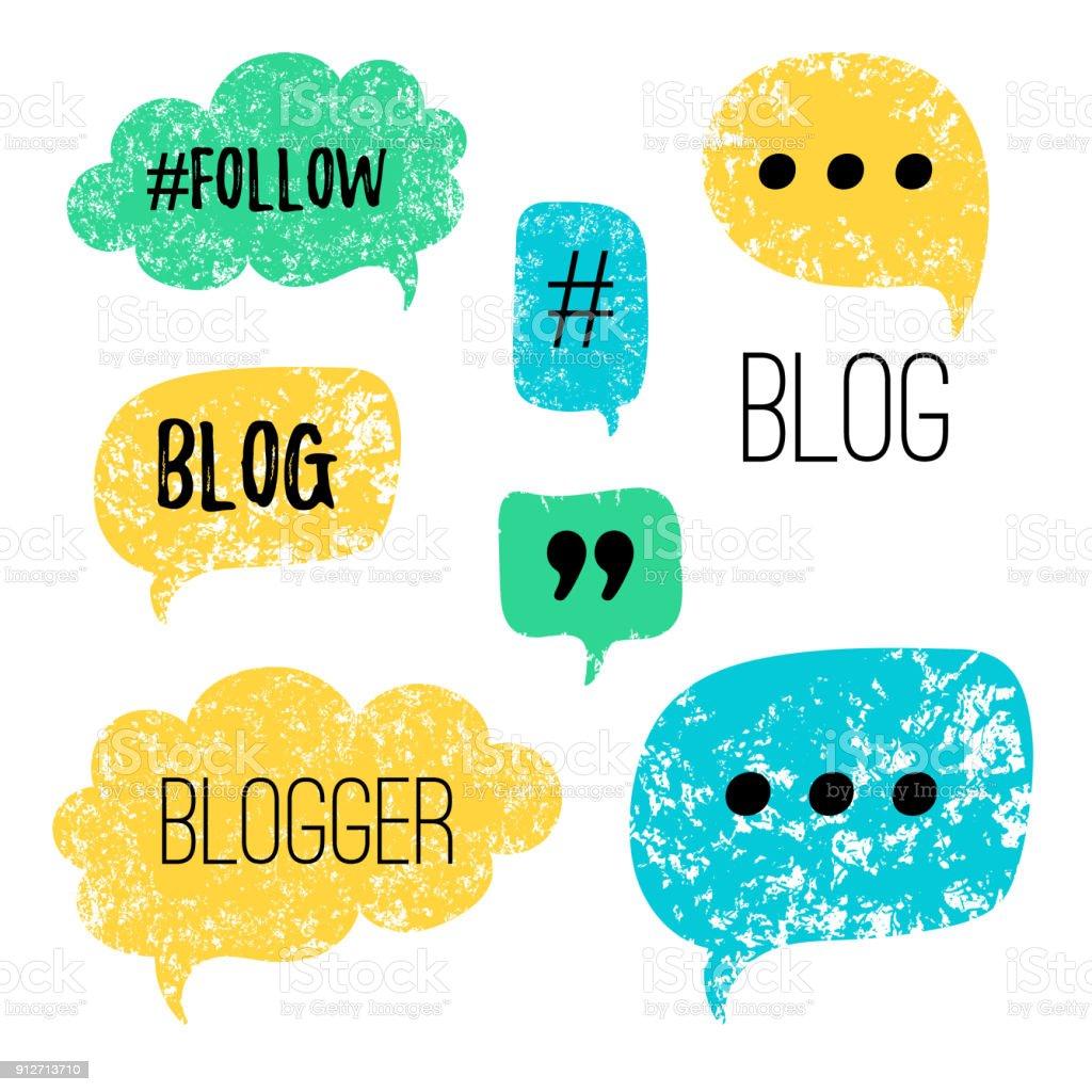 Bulles de vecteur avec des phrases Blog, Blogger. Les phylactères dessinés à la main, label de blog dans le style grunge avec hashtag. Ensemble d'icônes de médias sociaux. - Illustration vectorielle