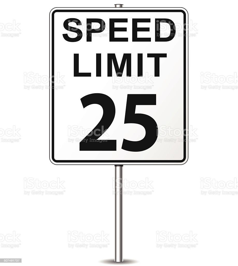 Vector speed limit sign vector art illustration