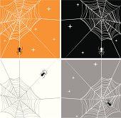 Cartoonish vector illustration of spider webs.