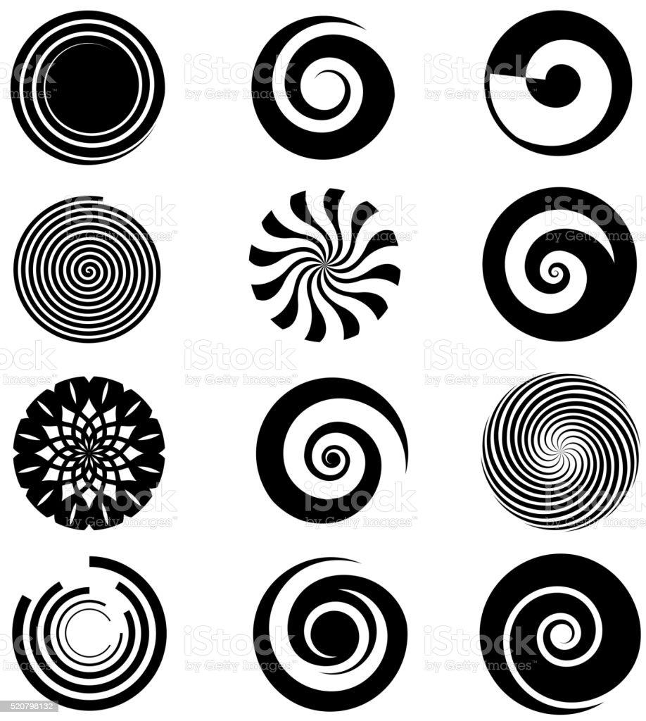 Vector spiral elements vector art illustration