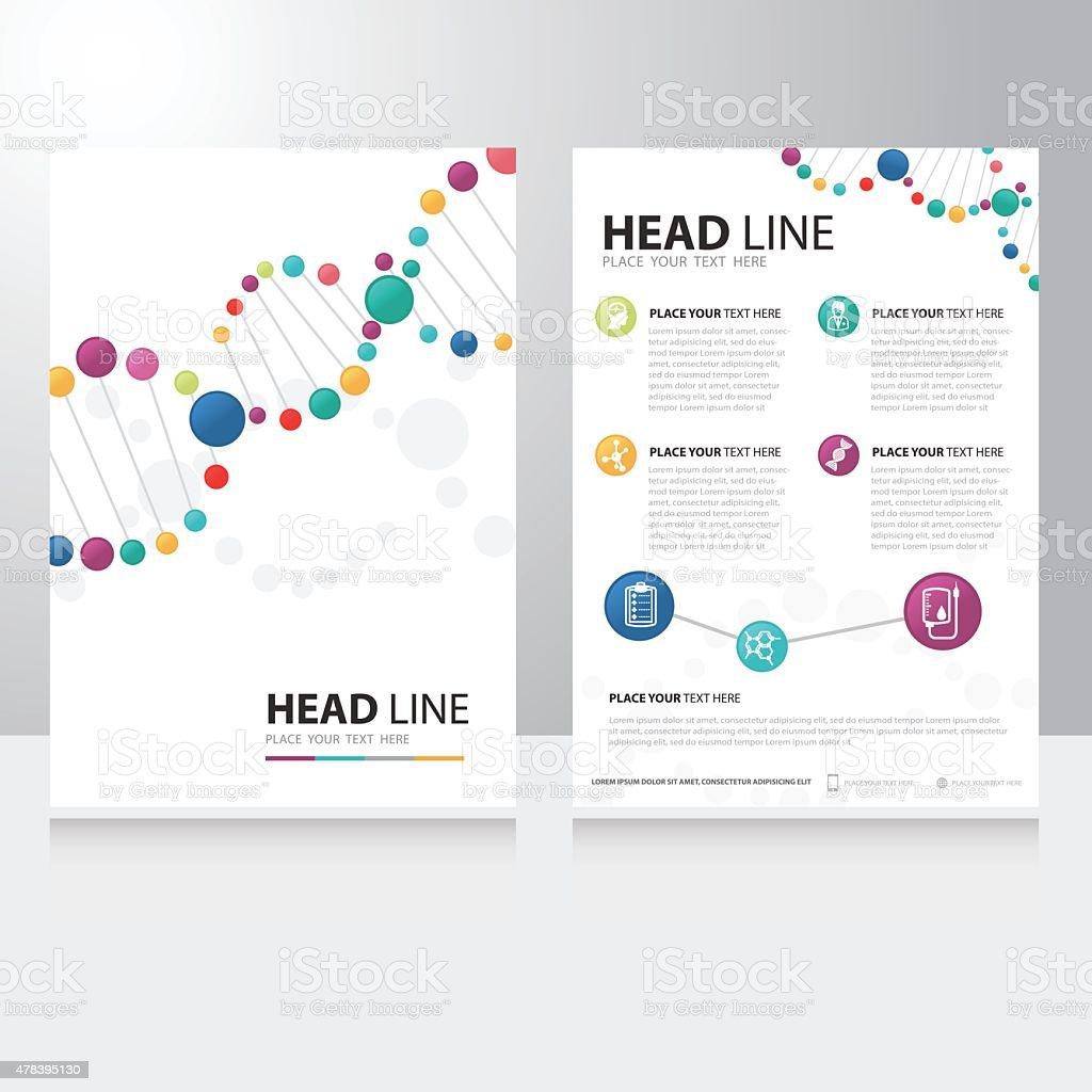 Vector spiral helix dna and science technology Brochure Flyer design vector art illustration