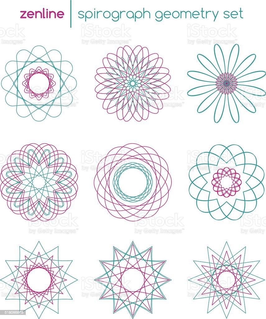 Vector spirograph symbols vector art illustration