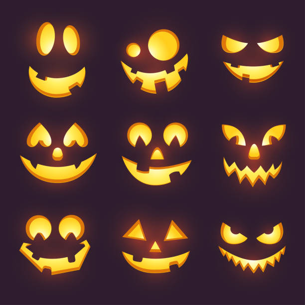 vector spooky glowing face isolated on dark background. halloween pumpkin carving faces set. funny and scary eyes and mouth. emojis for your celebration design. eps 10. - pumpkin stock illustrations