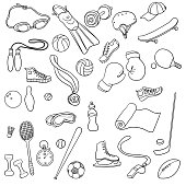 vector sport doodle set, isolated hand drawn design elements