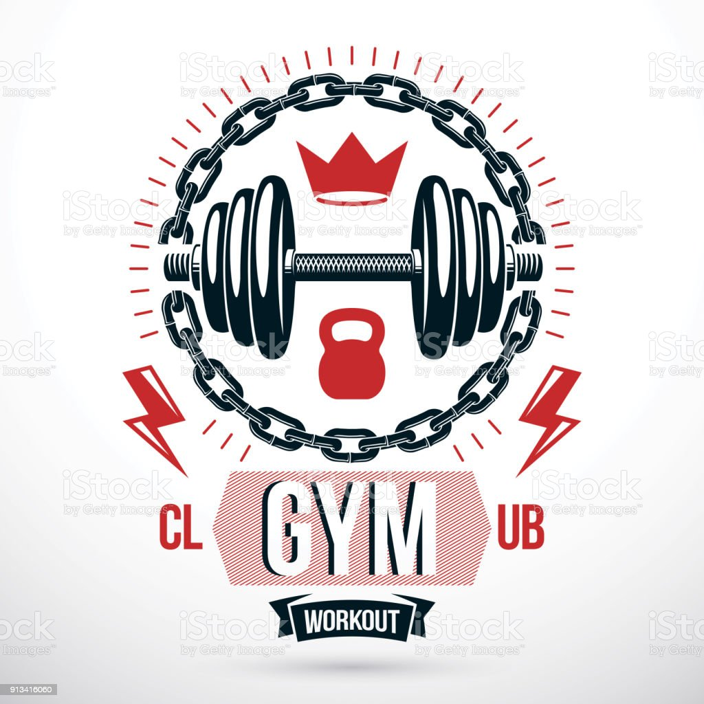 Vector sport equipment, dumbbell with disc weight and kettle bell. Fitness and heavyweight gym sport club emblem template vector art illustration