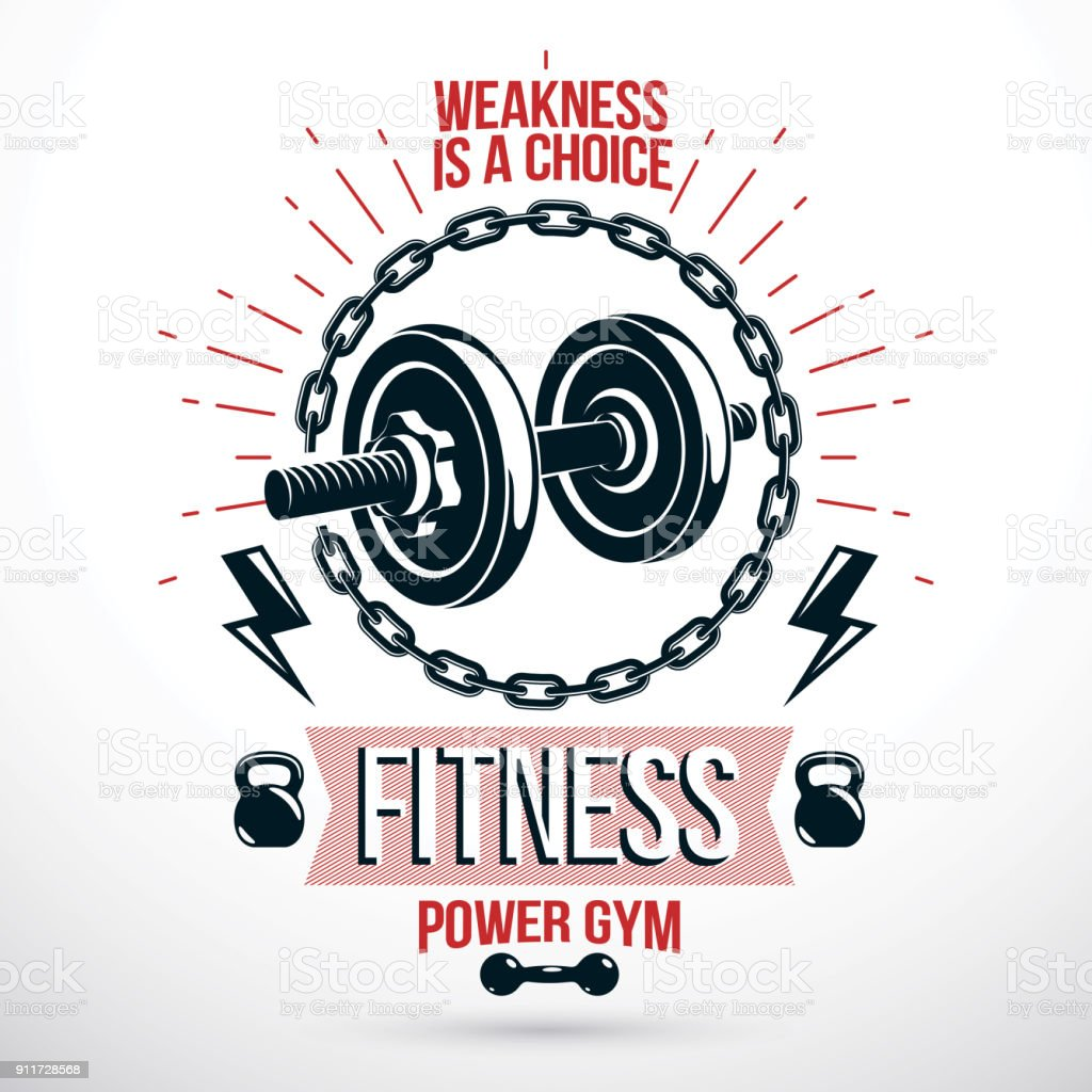 Vector sport equipment, dumbbell with disc weight and kettle bell. Sports club emblem vector art illustration