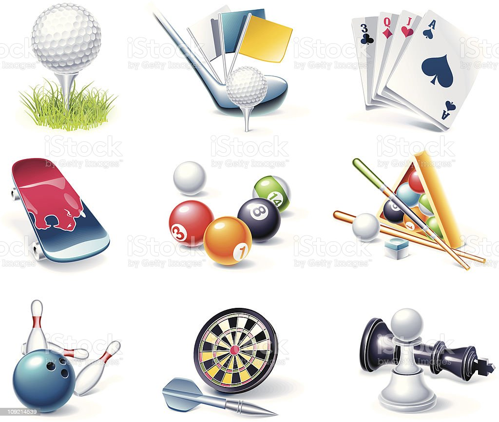Vector sport equipment icons vector art illustration