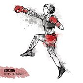Vector sport illustration. Watercolor silhouette of the boxing athlete with thematic words