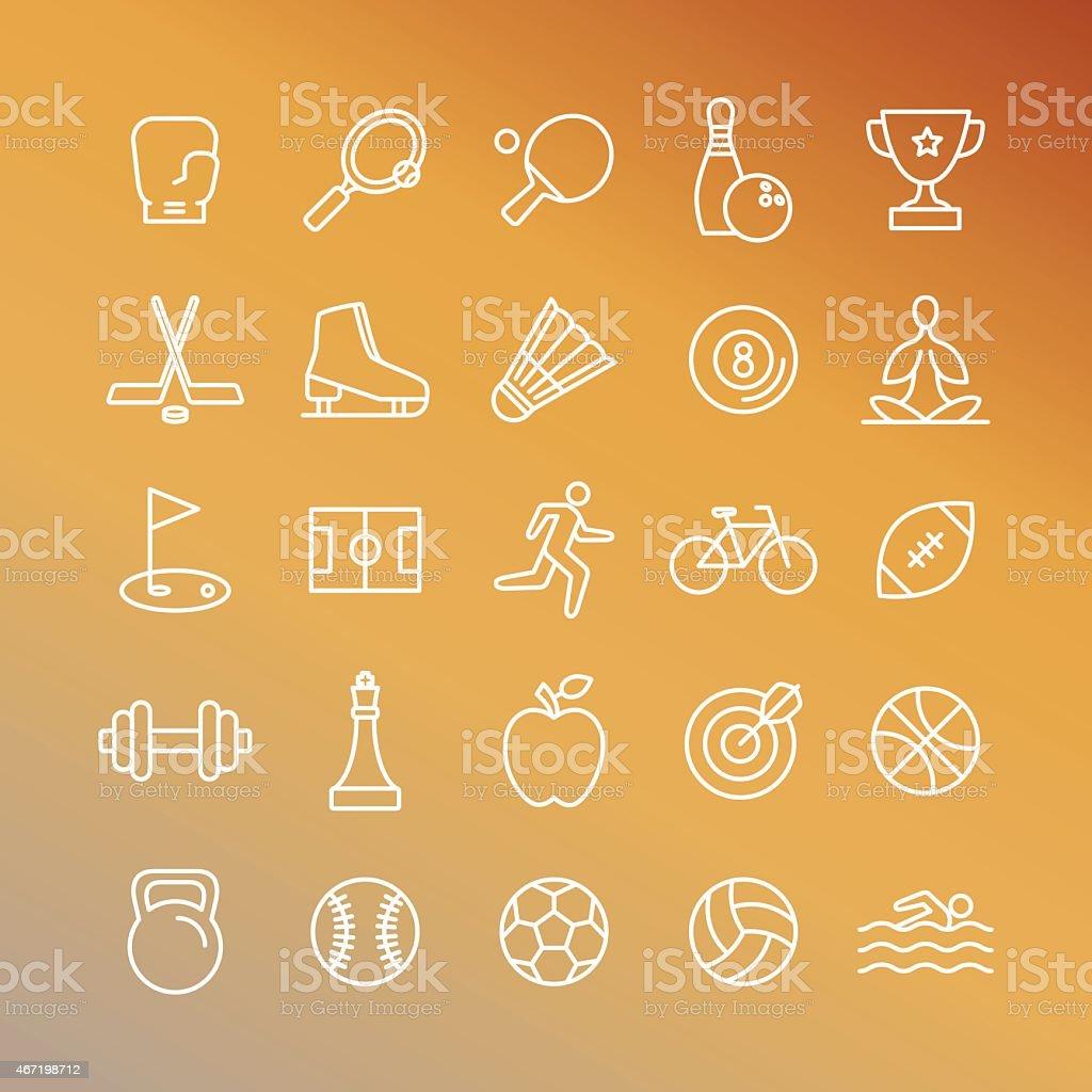 Vector sport linear icons vector art illustration