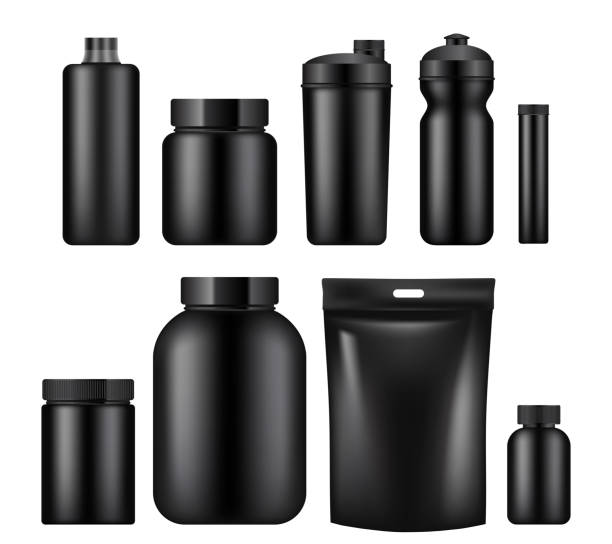 Vector sport nutrition container template set Vector set of sport nutrition container templates isolated on white background. Realistic black plastic jars, foil packages and drink bottles. nutritional supplement stock illustrations