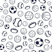 Vector Sports Balls Black and White Seamless Background, Sports Equipment, Pattern