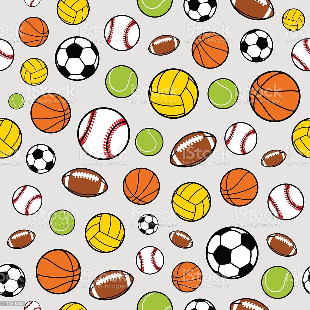 Вектор Спортивные мячи Бесшовный фон, спортивное оборудование, рисунок  Вектор Спортивные мячи Бесшовный фон спортивное 90e378da769