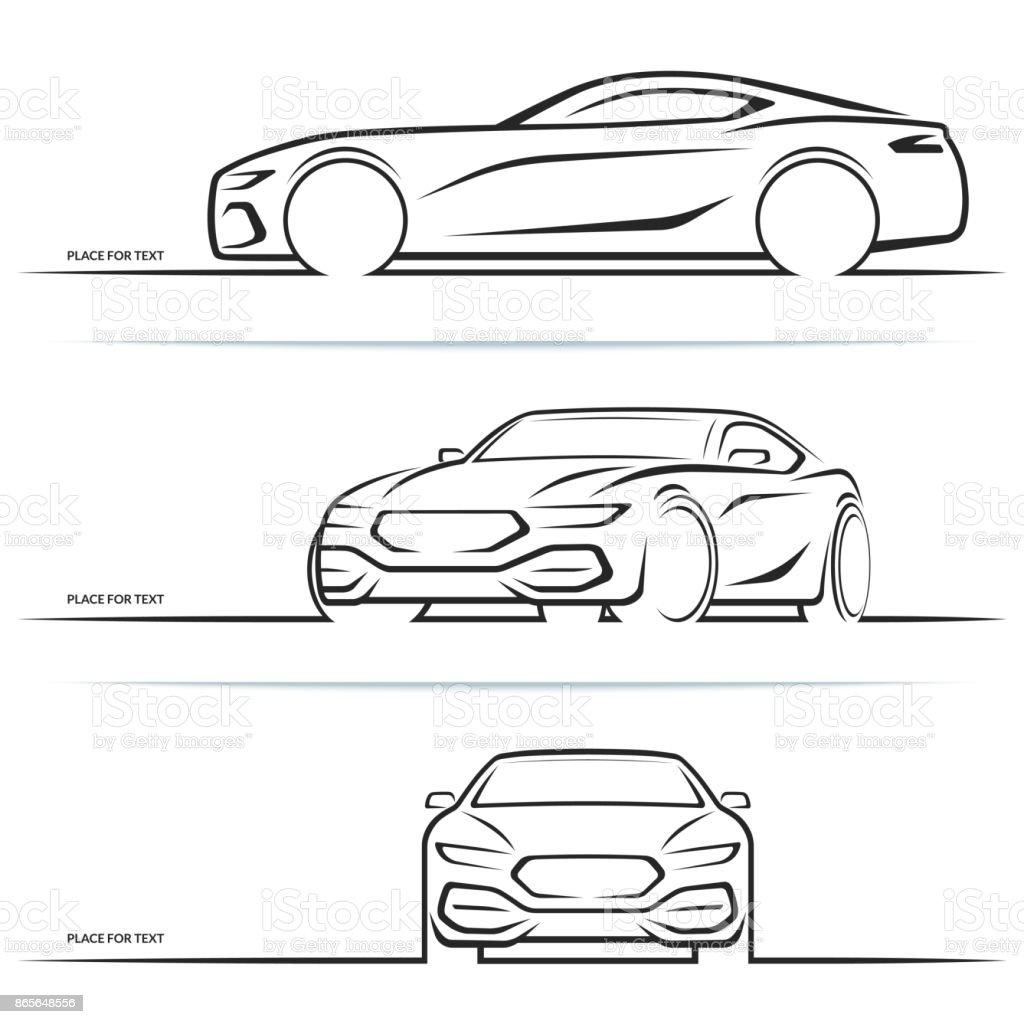 Vector sports car silhouettes