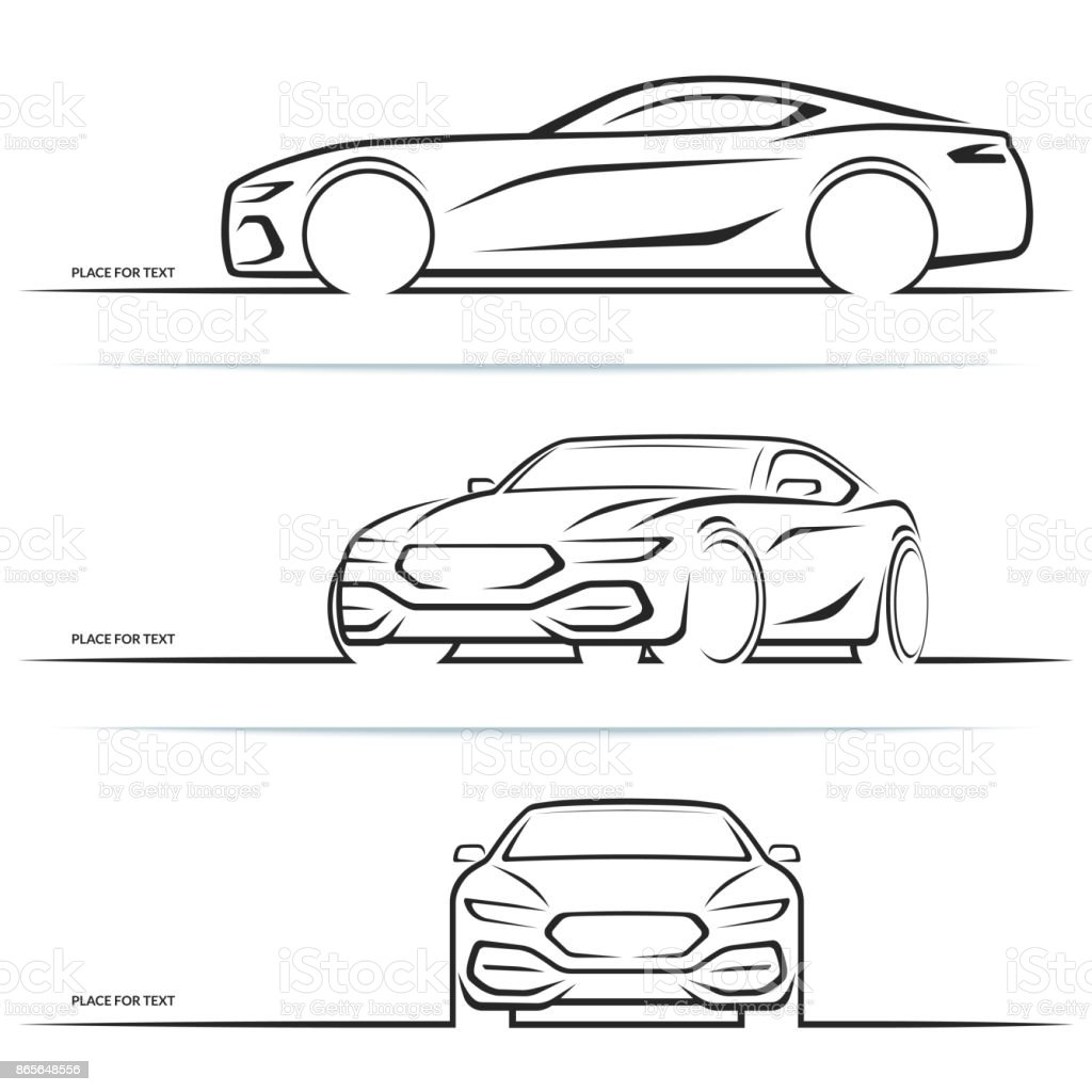 Vector sports car silhouettes - illustrazione arte vettoriale