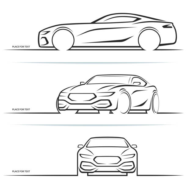 Vector sports car silhouettes vector art illustration