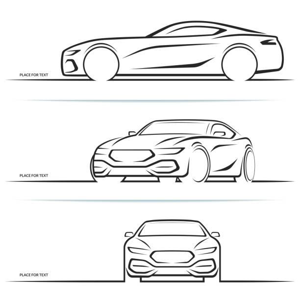 vector sports car silhouettes - car stock illustrations, clip art, cartoons, & icons