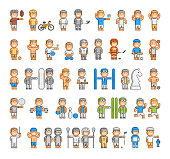 Vector sports set of pixel people