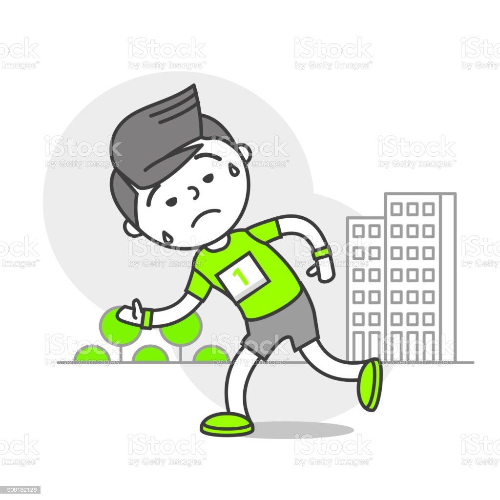 Vector Sports Set Running Stories_Tired Runner vector art illustration