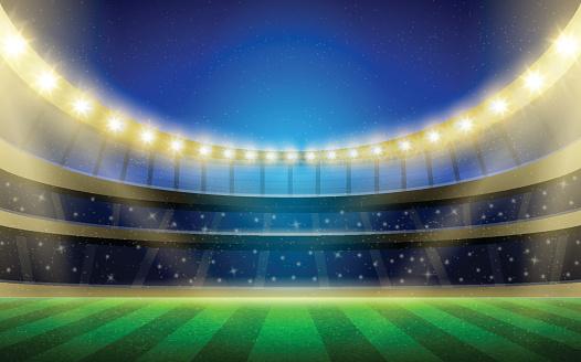 Vector Sports Stadium Illustration With Grass Field Stands And Lights Vecteurs libres de droits et plus d'images vectorielles de Championnat de sport