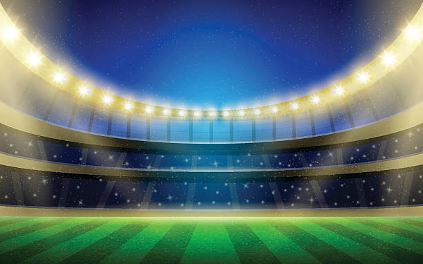 Vector sports stadium illustration with grass field, stands and lights. Football, rugby or tennis arena at night. Sports event image suitable for various purposes. Football stadium. Soccer arena. rugby stock illustrations