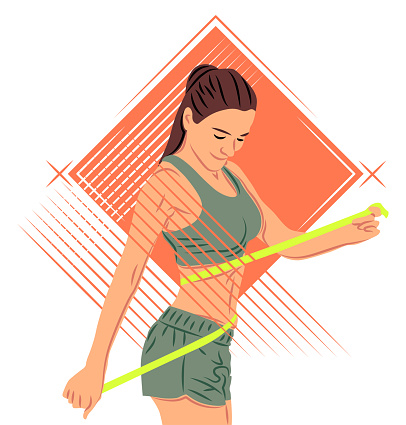 Vector sportswoman in shadow of sharp lines style