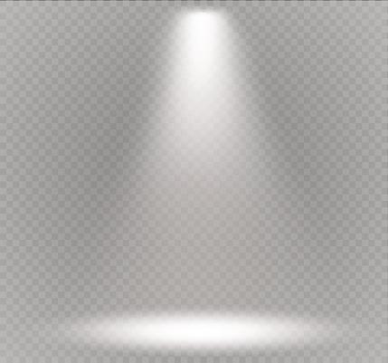 Vector spotlight. Light effect.Scene illumination, transparent effects on a plaid dark background