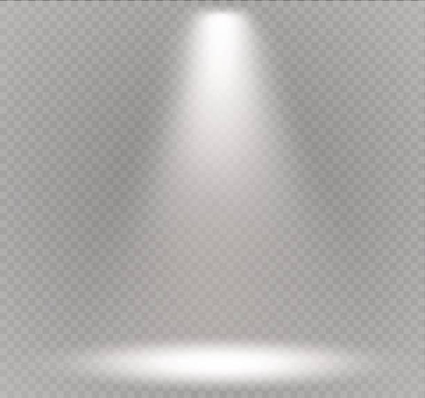 Vector spotlight. Light effect.Scene illumination, transparent effects on a plaid dark background Vector spotlight. Light effect.Scene illumination, transparent effects on a plaid dark background. Bright lighting with spotlights. spot lit stock illustrations