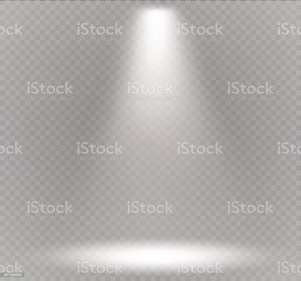 Vector spotlight. Light effect.Scene illumination, transparent effects on a plaid dark background vector art illustration