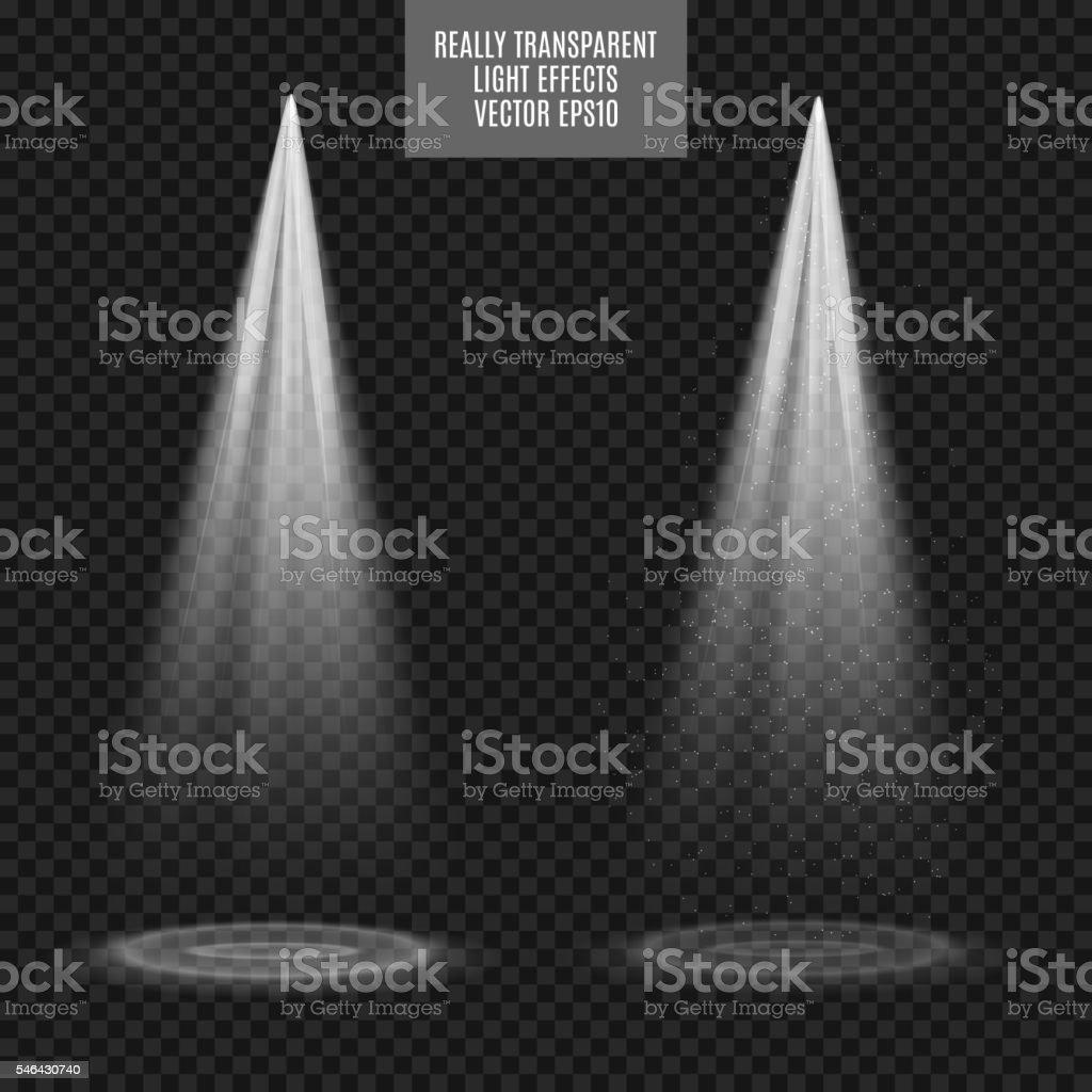 Vector Spotlights. Light Effects. White glow. Really transparent effect vector art illustration